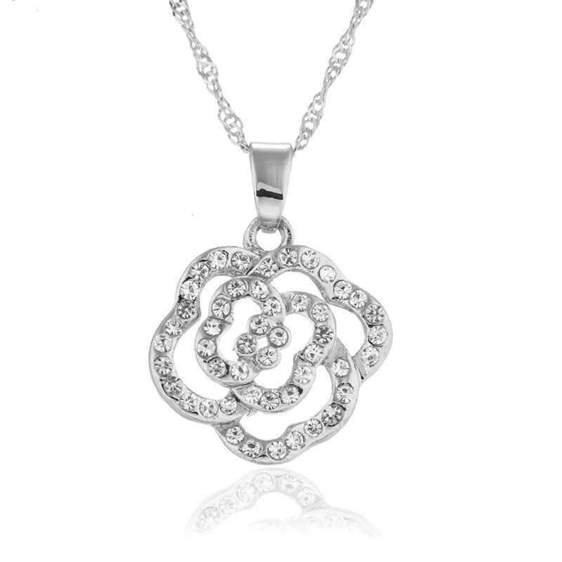 Liquidación venta juegos de joyas para mujer fiesta de moda conjuntos de joyería forma de flor plata Rosa chapado en oro colgantes y collares