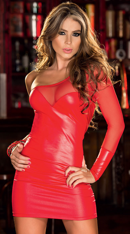 Buy Women dresses One-Shoulder Dress Backless Black sexy latex Oblique dress club wear fetish rubber vestidos Erotic Latex Catsuit