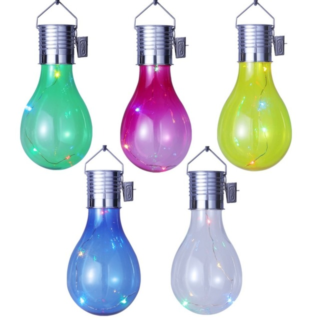 Solar Powered LED Hanging Lamp with Light Sensor Decorative Bulb Lawn Lamp for Outdoor Garden Camping (Color Light Source)
