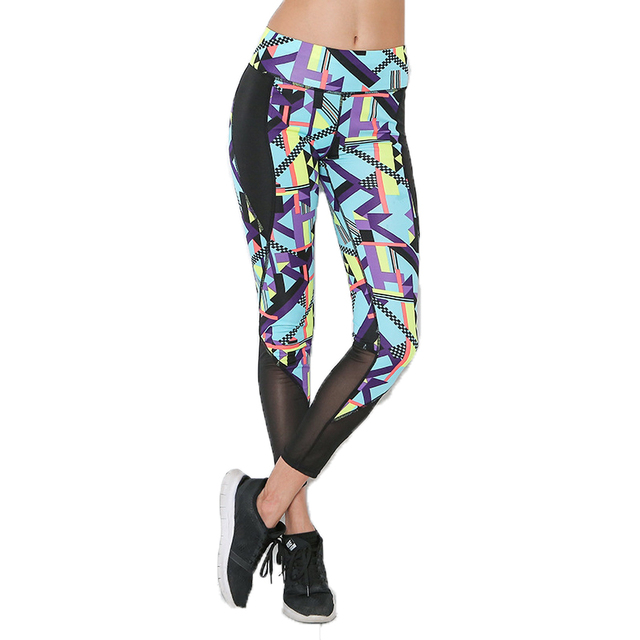4ff7053212 New Grid Sporting Leggings Women Workout Fitness Leggings Summer Skinny  Print Patchwork Women Pants Adventure Time