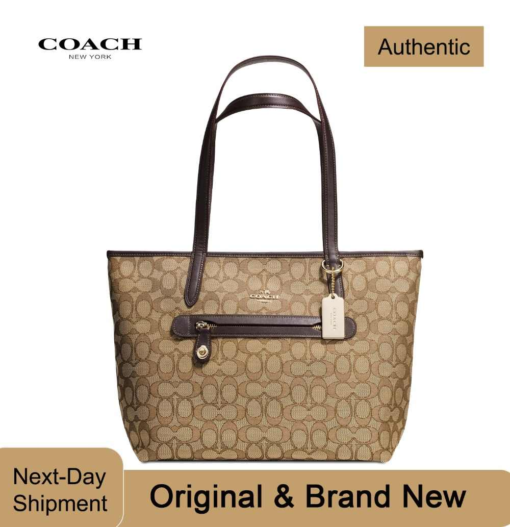 8a6420793b3 Detail Feedback Questions about Coach Taylor Tote in Signature Jacquard  (BeachWood/Gold) Luxury Handbags For Women Bags Designer by Coach on  Aliexpress.com ...