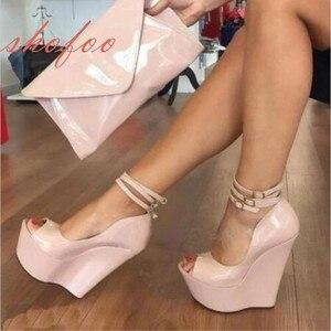 SHOFOO shoes,Elegant fashion free shippping, high-heeled women's shoes, wedges shoes, peep toe pumps, 15 cm high-heeled shoe