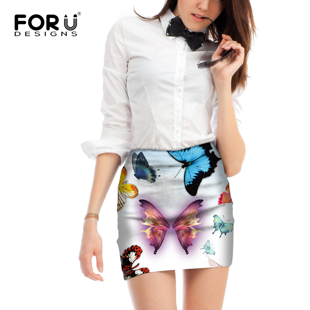 FORUDESIGNS Pencil Mini Skirt Women Sexy Skirts Straight Floral Butterfly Printed Harajuku Style Skirt 39 s Femme Vogue Size M L in Skirts from Women 39 s Clothing