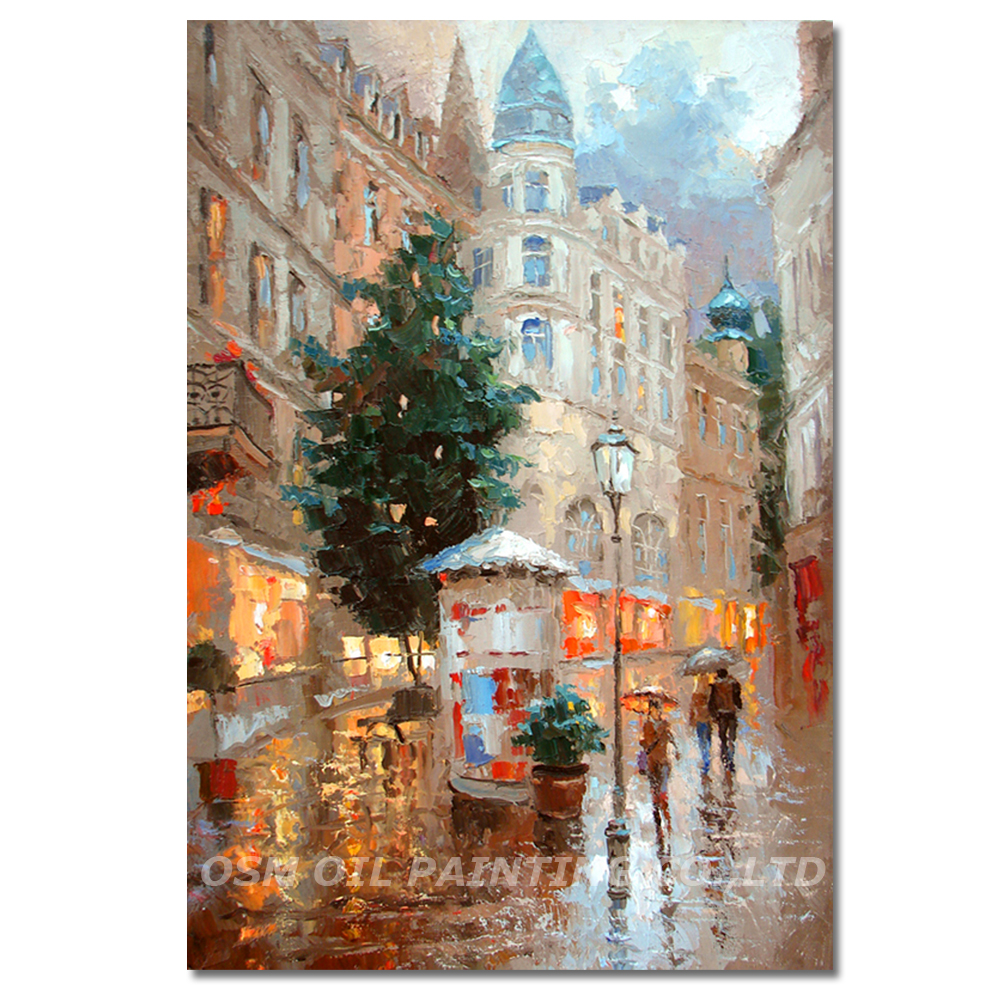 Dafen Master Artist Pure Hand painted High Quality Impression Street Landscape Oil Painting on Canvas Impression Oil Painting in Painting Calligraphy from Home Garden