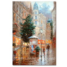 Dafen Master Artist Pure Hand-painted High Quality Impression Street Landscape Oil Painting on Canvas