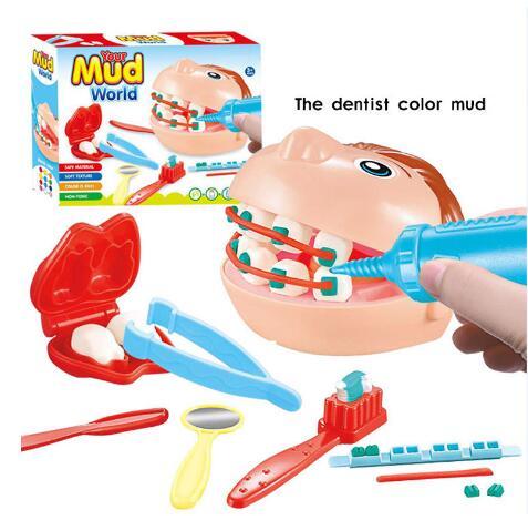 3D kolor gliny formy zabawki plastelina narzędzie do modelowania zestaw dla dzieci Dental lekarz Role Playing Kid dziewczyna Playdough edukacyjne formy