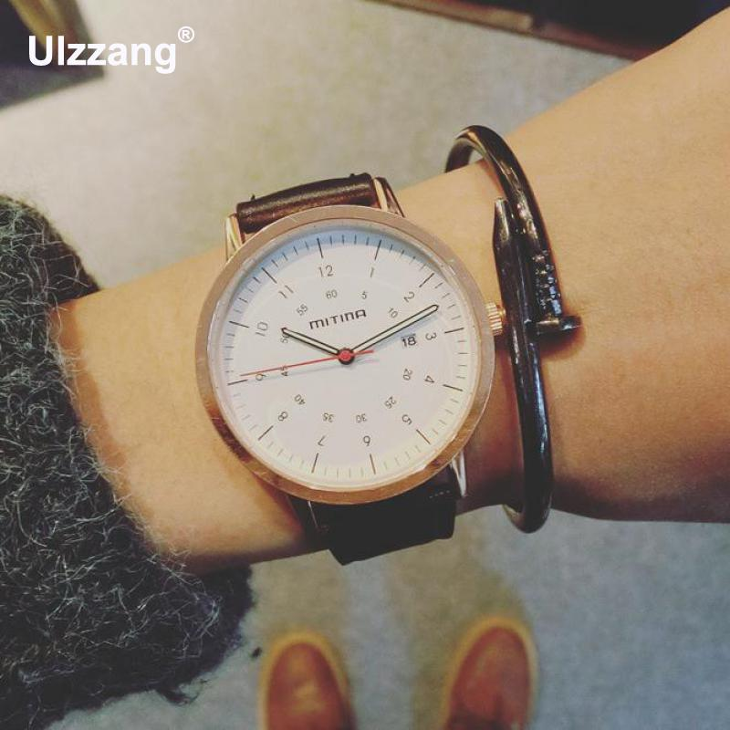 Hot Sale Vintage Alloy Case Genuine Leather Wristwatches Wrist Watch Gift for Men Women Black Brown White  classic ulzzang brand vintage genuine leather women men lovers quartz wrist watch gift black white brown