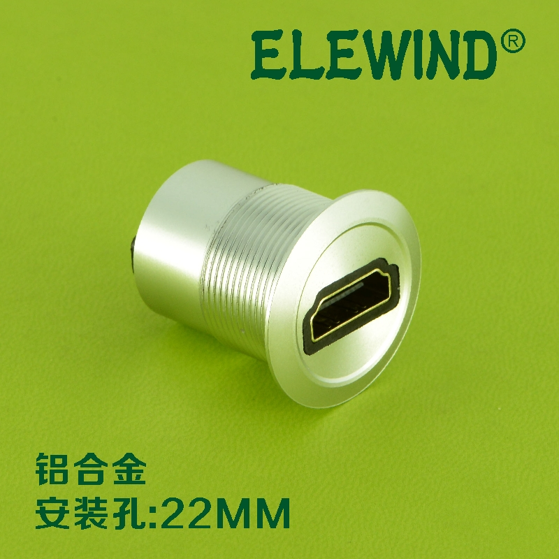 22mm mounting diameter HDMI connector USB Female to Female 22mm mounting diameter metal usb2 0 female a change to female a black surface