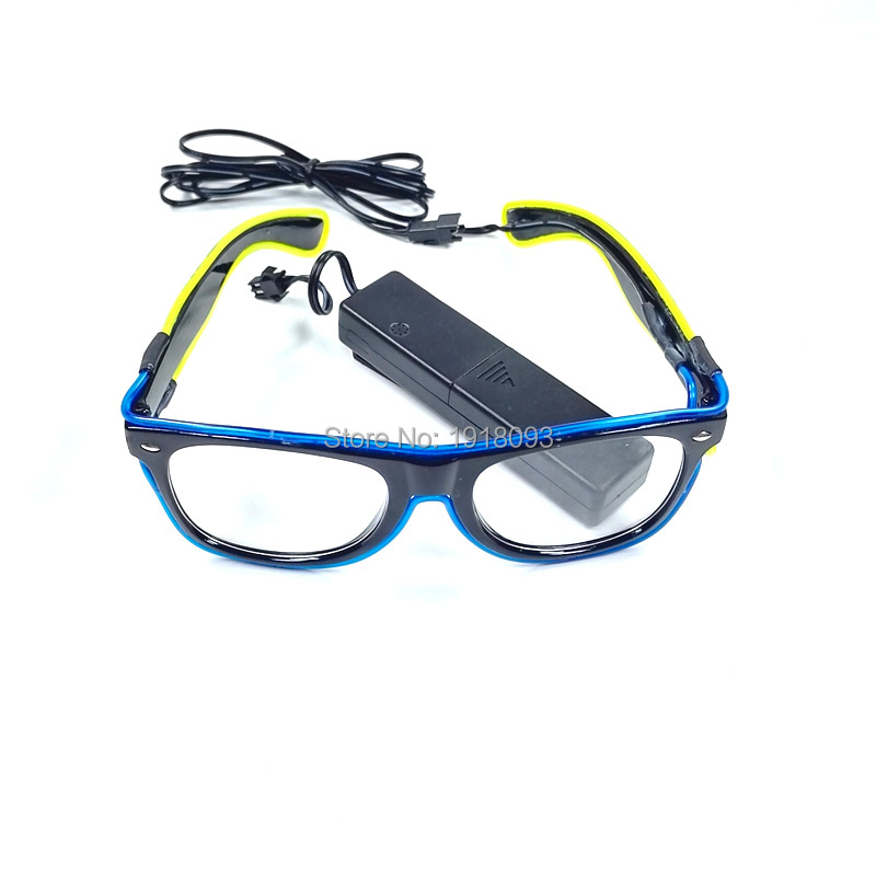 Double Color Neon Light Glasses EL Wire Glowing Glasses with DC-3V Sound activated Driver Novelty Lighting Glow Party Decor