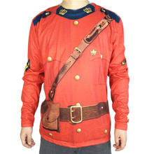 Funny Canadian Mountie Halloween Costume for Adult Men Cool Mens Uniform Outfit Long Sleeve T Shirt Plus Size