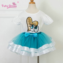 Girls Birthday Clothing Sets Kids Summer White Sequin Top and Girl Tulle Skirt with Bow Children Suits Clothing Set Retail