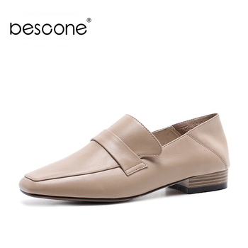 BESCONE Soft Women Flats Genuine Leather Square Toe Comfortable Slip-on Work Casual Shoes New Shallow Outside Women Flats BO145