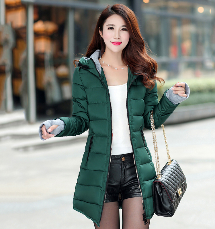 Mark feminina 女性の冬フード付き暖かいコートスリムプラスサイズキャンディーカラー綿パッド入り基本ジャケット女性の中 jaqueta 25