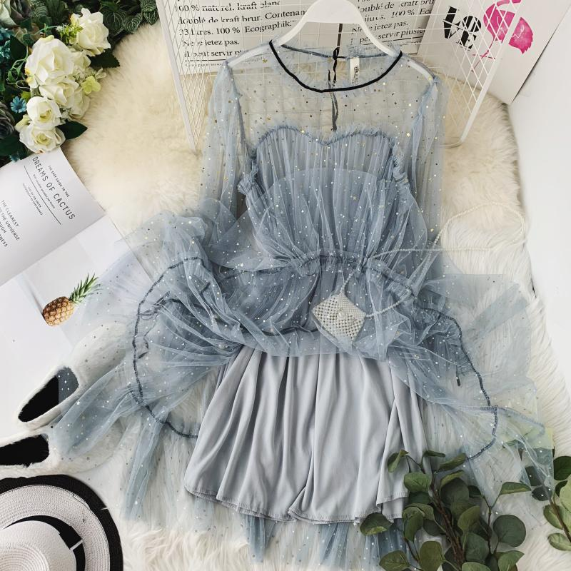 HISUMA spring autumn new women Star sequins gauze flare sleeve lace-up Princess dress female elegant o-neck mesh puff dresses 48