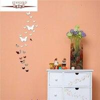 Diy Trójwymiarowy Kryształ Butterfly Naklejki Ścienne Lustro, 3d Naklejki Ścienne Wystrój Domu
