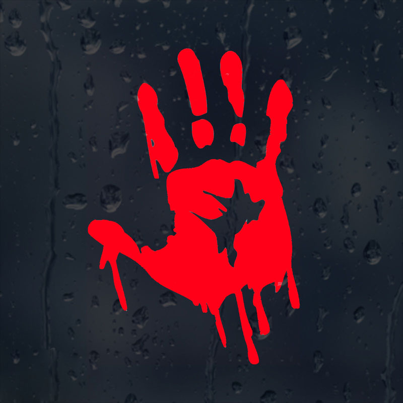 10CMX15CM Bloody Zombie Hand Print <font><b>Windows</b></font> Car <font><b>Stickers</b></font> Vinyl Decorative Decals Red/Black/Silver C1-5005 image