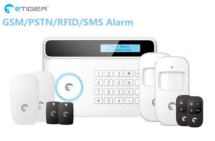 32 zone sans fil Etiger S4 alarme intelligente à domicile système d'alarme PSTN GSM Protection de sécurité à domicile alarme GSM avec batterie de secours au lithium