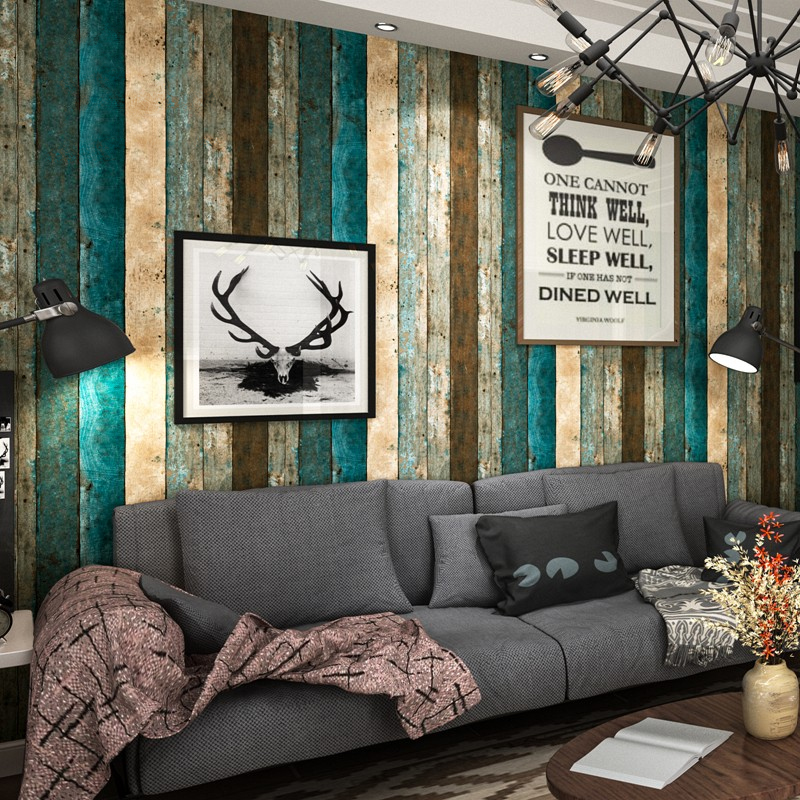 Retro Nostalgia Wood Panel Wood Grain Wallpaper Personality Living Room Study Dining Room Vertical Stripe Vinyl Wall Paper Rolls