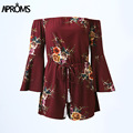 Aproms flare elegante fora do ombro boho cópia floral jumpsuit mulheres verão festa sexy manga rompers playsuits 90 s meninas macacão