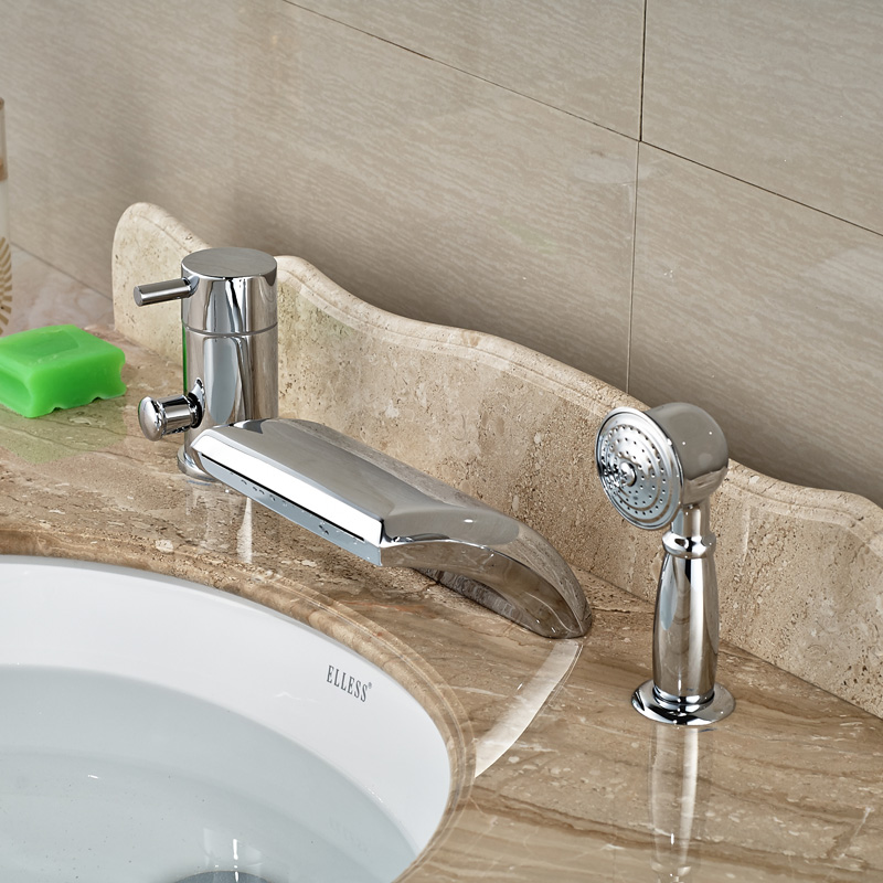Creative Design Waterfall Curve Spout Bathroom Roman Tub Faucet 3pcs ...