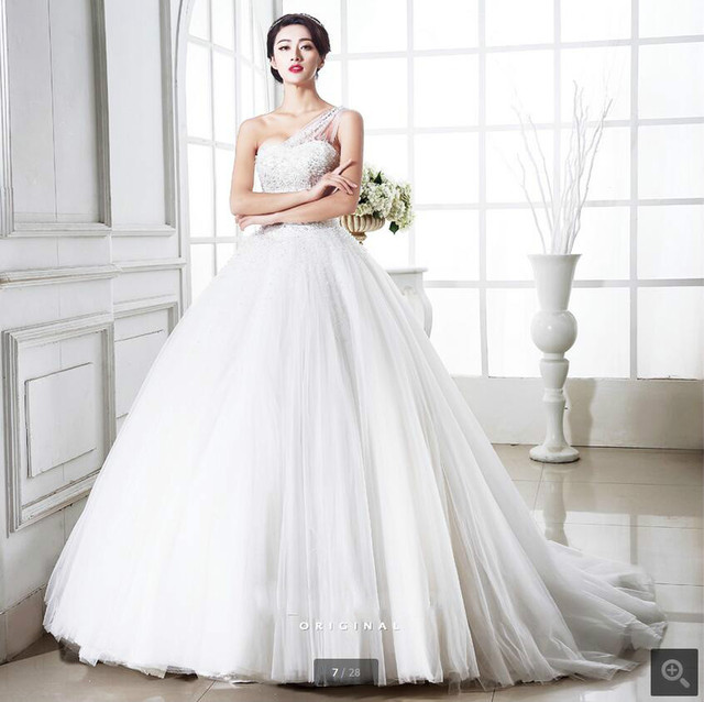 167643c1c112 2017 fashion ball gown one shoulder strap crystals wedding dress sparkly  princess puffy lace up corset bride dress wedding gowns