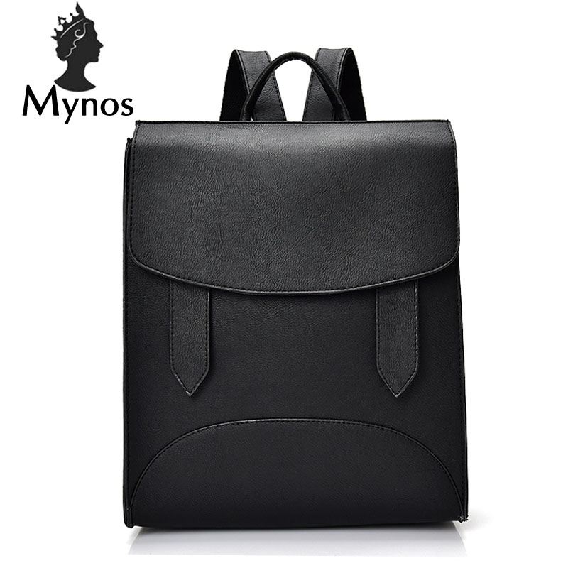 MYNOS Fashion School Backpack High Quality Leather Solid Backpack For Teenager Girl Big Capacity Women Backpack Mochila Tote Bag yjgjz house fashion serpentine women leather backpack luxury brand designer back bag for teenager girl high school students bag