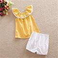 Newborn Baby Toddler Girls Outfits Ropa Rizó Tops Pantalones Cortos 2 UNIDS Conjuntos