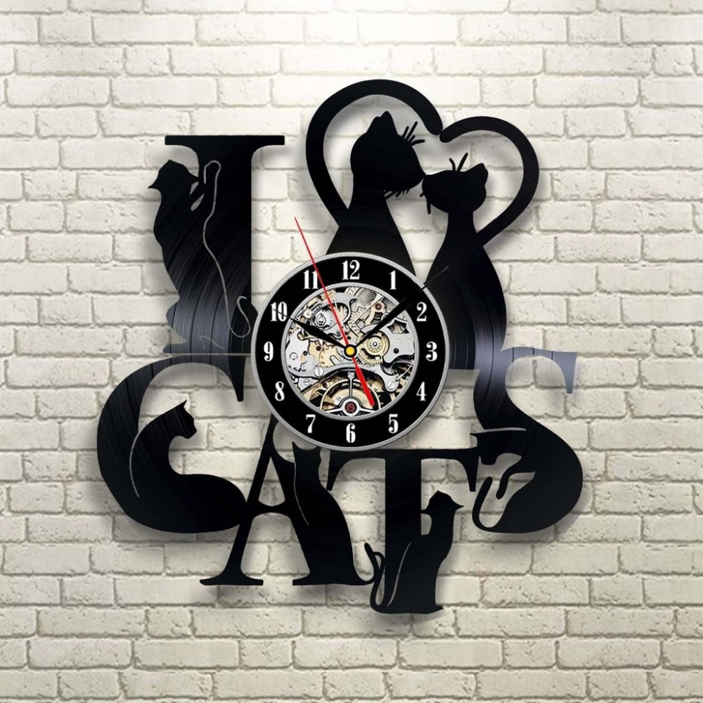 2018 New Arrival Vinyl Record Clock Cat Theme Wall Watch Vintage Retro Classic Clocks Art Home Decor Horloge murale