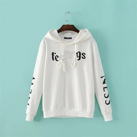 Newest Arrival Wholesale Women Autumn Winter Loose Long Sleeved Hoodie Casual Knitted Letters Printing Round Neck Hoodie