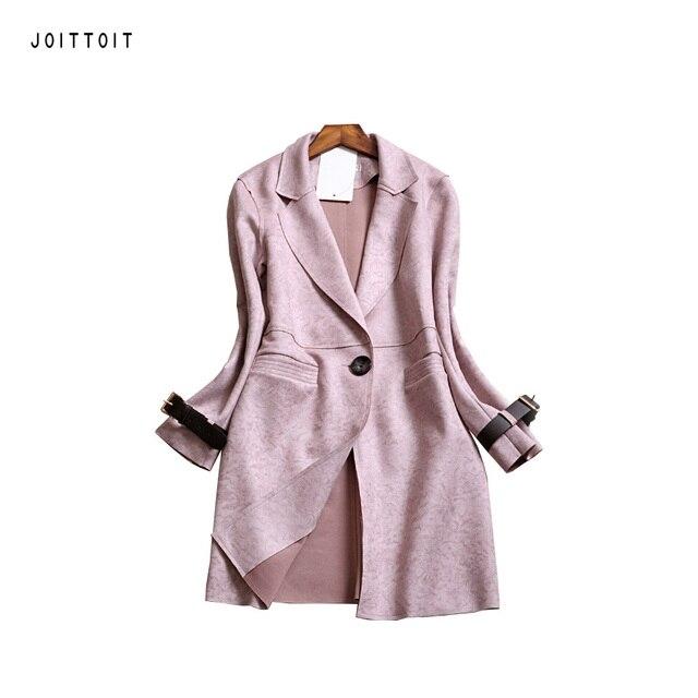 Женщины Весна Пальто Мода Офис Дамы Одна Кнопка Розовый серый Длинный Тренчкот Женщины Плюс Размер Длинные Замши Траншеи пальто