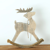 Wood christmas deer ornament Christmas gift for friends lovers decoration holiday figurines Supplies