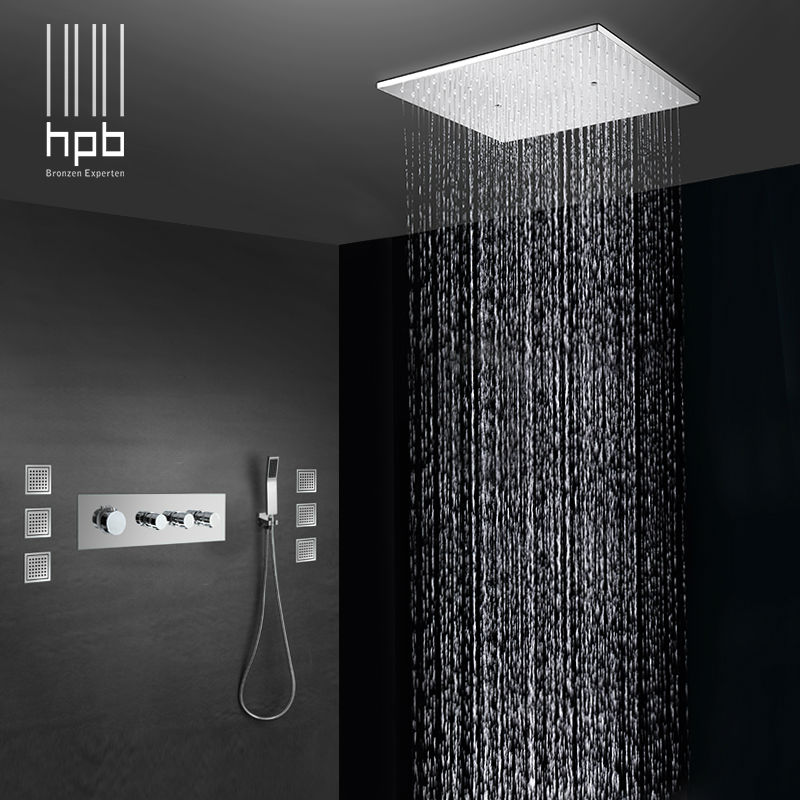 HPB Brass Bathroom Thermostatic Water Mixer Ceiling Mounted Shower ...