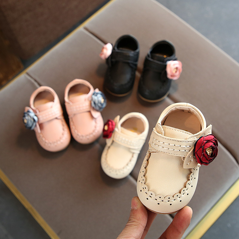 Leather Shoes Girls Flowers 2018 Spring And Autumn New Baby Toddler Shoes Soft Bottom Kids Shoes