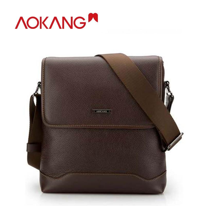 Aokang en kaliteli hakiki deri erkek omuz çantaları 2 renk siyah / kahverengi