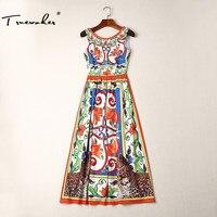 Truevoker летние дизайнерские платье Для женщин Элегантный Многоцветный Цветочный животных леопарда печатных пикантные с v-образным вырезом на...