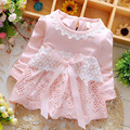 Sweet Baby Lace Crochet Long Sleeve Bow knot Summer dress for girls Cotton Hollow out little flower  Dresses vestido infantil A