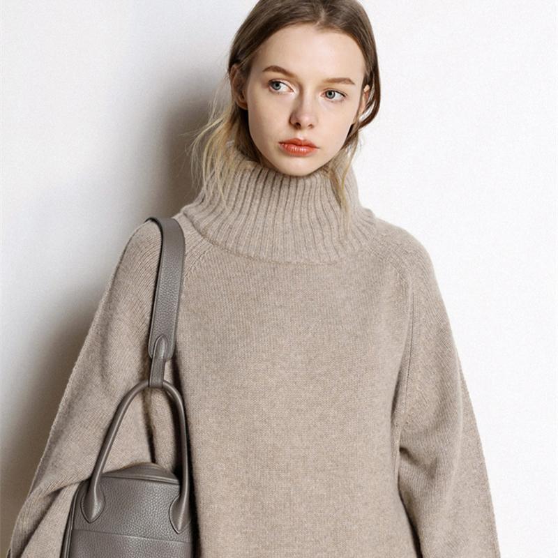 Suéter de cachemira de las mujeres de alta-Cuello suéter de cachemira de las mujeres de color sólido suelto suéter de gran tamaño de punto que basa la camisa