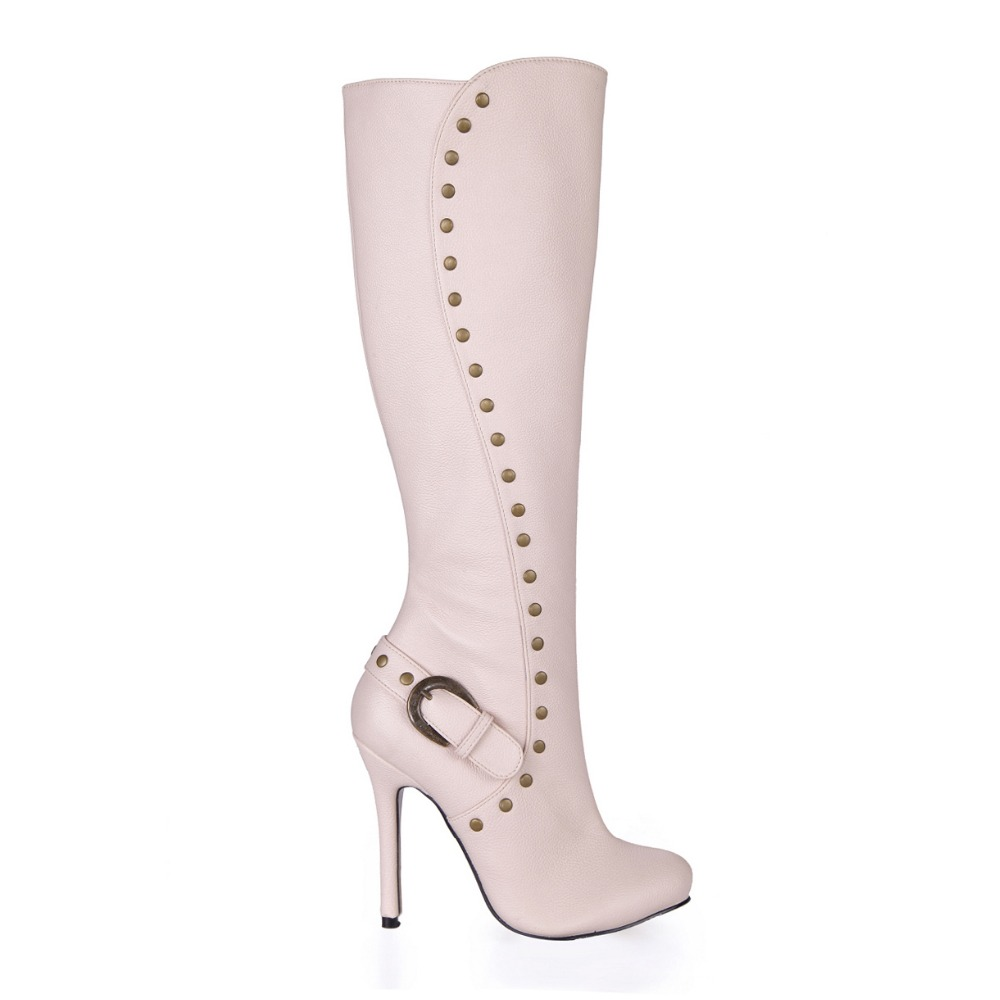 ФОТО new arrival fashion punk rivets knee high boots women buckle sexy stiletto high heels long boots round toe shoes big size 35-43