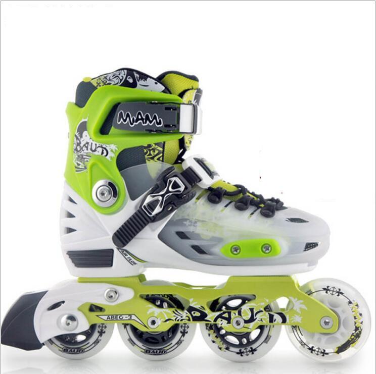 Детская роликовых коньках обувь S/M/L роликовых коньках обувь Регулируемый дорожный раздвижные/слалом роликовые коньки обувь ...