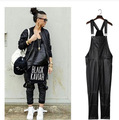 Women Leather Overall Suspenders Bib Trouser Male Jumpsuit Casual Leather Harem Pant Street Fashion Hiphop Punk Style Men