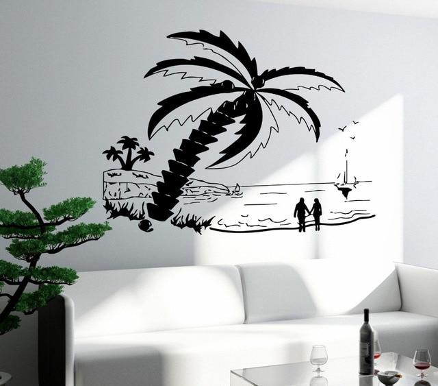 Muurtattoo Slaapkamer Beach Palm Zonsondergang Romantische Liefde ...