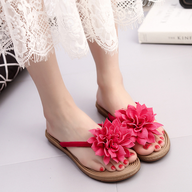 Candy Color Women Fashion Summer Roma Flower Flat Anti Slip Slipper Beach Casual Shoes Flip Flops Zapatillas Mujer in Slippers from Shoes
