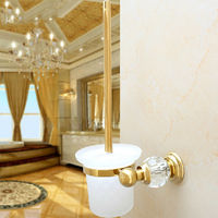 Bathroom Accessories Brass Crystal Gold Titanium Toilet Brush Holder Golden Bathroom Products