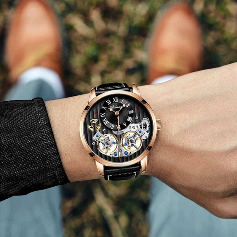 Классический дизайн турбийон стимпанк механические стальные часы для мужчин Скелет автоматические механические мужские часы кожаные часы 2019 Новинка - 3