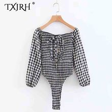 TXJRH Vintage Plaid Off Shoulder Slash Neck Cross Hollow Out Ruffles Sexy Women fit