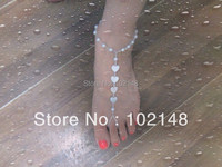 Hotsale Handmade shell barefoot sandals stretch anklet chain foot jewelry 1pair/lot free shipping