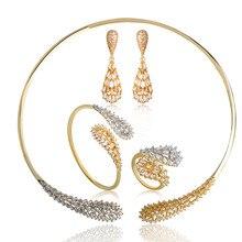 Dazz única gota de agua forma Juegos de joyería para las mujeres Niñas latón dos color gargantilla collar cuelgan Pendientes anillo Set