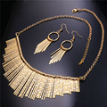 Tassel Necklace And Drop Earrings Indian Jewelry Set Women 2016 New Gold Plated Costume Party Jewelry NE1863