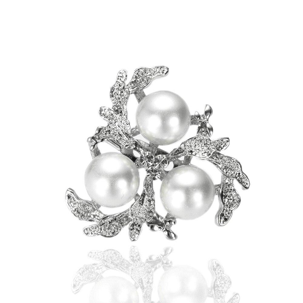 Родий Серебряный тон кремовый или белый жемчуг и прозрачный горный хрусталь, страз Диамант цветок брошь шпильки на вечеринку
