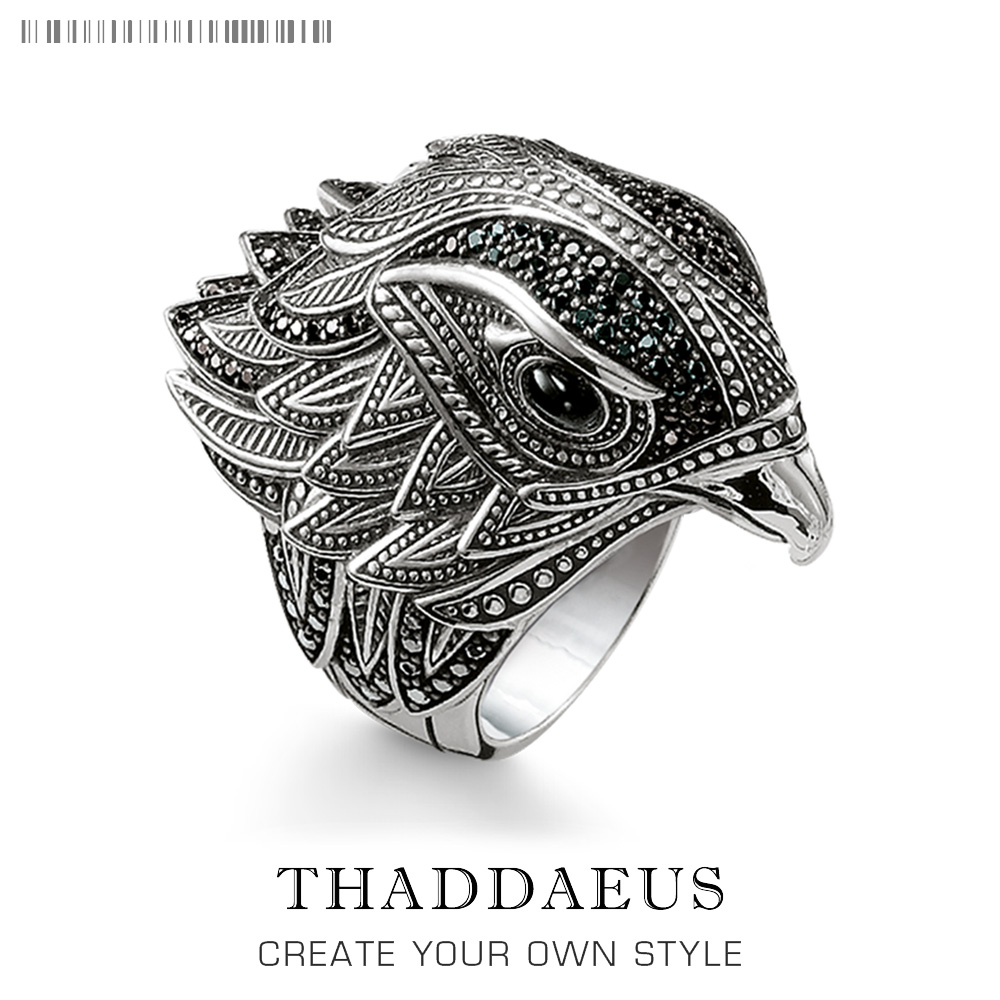 Elegant Falcon Cocktail Ring in 925 Sterling Silver,TS Trendy Gift for Women & Men,Thomas Style Free Shipping 2018 Fine Jewelry tardoo 925 sterling silver women s rings geometry trendy style minimalist skeleton classic ring in ring for women fine jewelry